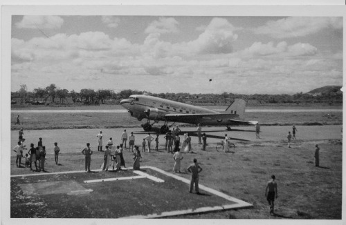 RAAF Dakota at Minneriya Airport, Ceylon, 02-11-1952.